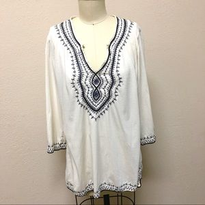 Lucky Brand Woman's Embroidered Boho Top